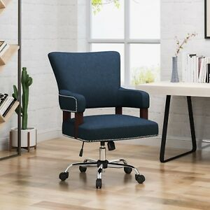 May Contemporary Studded Fabric Adjustable Swivel Chair With Rolling Casters