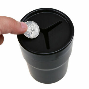 Car Mini Trash Rubbish Can Garbage Dust Box Case Holder Bin Pen Coins Can Black