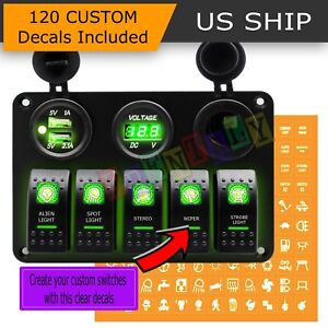 5 Gang Green On Off Toggle Switch Panel 2usb 12v Car Boat Marine Rv Truck Camper