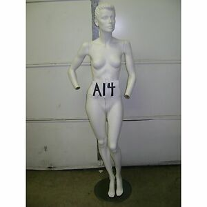Chalk White Fiberglass Female Mannequin W Base A14