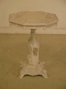 F43345ec Chinese Vintage Highly Carved Detailed White Painted Occasional Table
