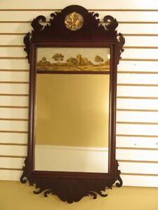 F28622c Vintage Federal Mahogany Mirror W Reverse Painted Glass Panel