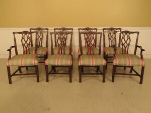 Lf43383e Set Of 8 Kindel Chippendale Mahogany Dining Room Chairs