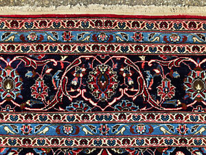 10x13 Antique Red Persian Rug Hand Knotted Rugs Iran Woven Wool Worn Kashan 9x13