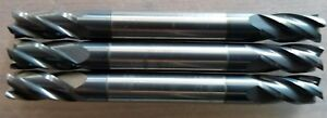 1 4 Solid Carbide End Mill 4 Flute Square Double End Tialn Usa Qty 3