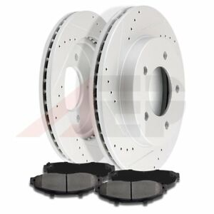 Front Discs Brake Rotors Ceramic Pads Fits 1997 2003 Ford F 150 Drilled Slotted