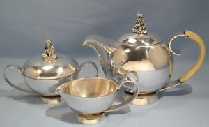Italian Sterling Silver National Silver Tea Pot Set Arabic Snake Flute Player