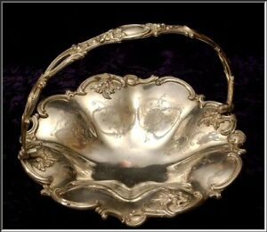Stunning Antique Victorian Brides Fruit Basket W Ornate Repousse