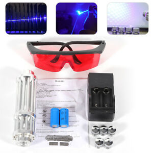 High Power Blue Laser Burning Lighting Lazer Light 450nm Beam Pen 5w 5 Caps Usa