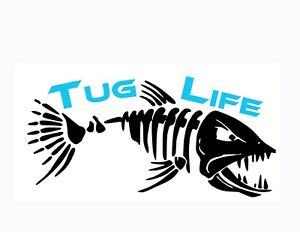 Tug Life Bone Fish Decals Custom 2 Colors Your Choice Fishing Decal Boat