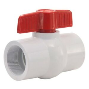 White Pvc Ball Valve Threaded Ends Fpt X Fpt 2 1 2 In Epdm Seats Plumbing Valve