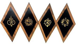 Set Of 4 Retro Mid Century Modern Mcm Diamond Wall Decor Crest Plaques Vintage