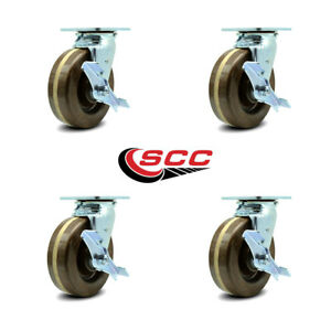 Scc 6 X 2 High Temperature Phenolic Wheel Swivel Casters W brakes Set Of 4