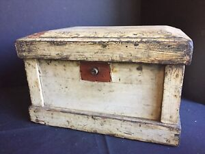 Antique Painted Wooden Chest Trunk Document Box