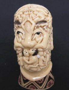 Japanese Ivory Colored Bone Okimono Netsuke Sal Dali Nude Women Draped Skull