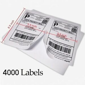 4000 Half Sheet Direct Shipping Labels 8 5x5 5 Self Adhesive Paypal Usps Fedex