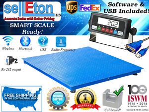 New 1000lb 2lb 4 x4 48 X 48 Floor Scale pallet Scale With Software