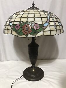 Antique Chicago Mosaic Leaded Stained Glass Lamp Shade Base Garland Wreath 28