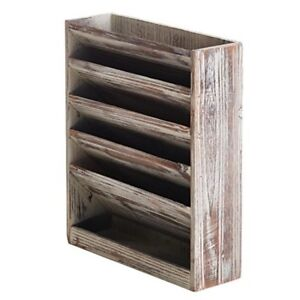 Wall Mount Shelf Shelves Organizer Storage Magazine Rack Rustic Torched Wood New