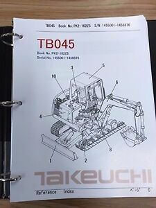 Takeuchi Tb045 Parts Manual S n 1455001 1456876 And Up Free Priority Shipping