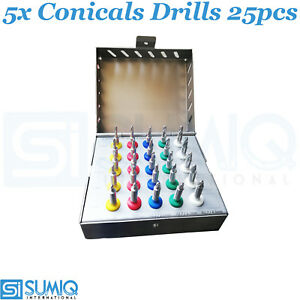 5x Dental Implant Conical Drill Kit With Stoppers Surgical Set High Quality