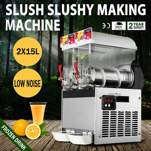 Commercial 2 Tank 30l Frozen Drink Slush Slushy Make Machine Smoothie Maker 110v