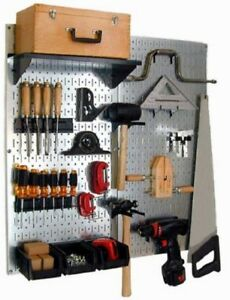 2 Steel Pegboard Tool Organizer Display Rack Wall Board Panel Garage Kitchen Gun