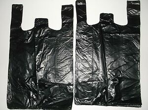 800 Ct Plastic Shopping t Shirt Type Grocery Store Black Medium Size Bags