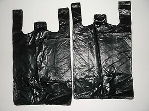 1000 Ct Plastic Shopping Bags t Shirt Type Grocery Black Medium 1 8 Size Bags