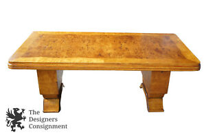 Monumental Art Deco Burr Walnut Dining Table Or Office Desk Biedermeier Burl 80