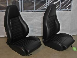 1984 1989 911sc Black Leather Front Sport Seat Set reupholstered 120