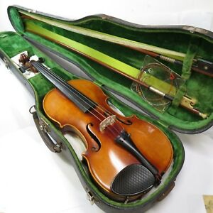 C1920 Model 17 Signed John Juzek Violin Prague Czechoslovakia 4 4 Wilhem Bow