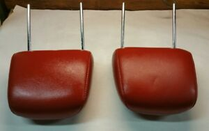 2005 2009 Ford Mustang Oem Front Red Leather Head Rests Headrests Pair