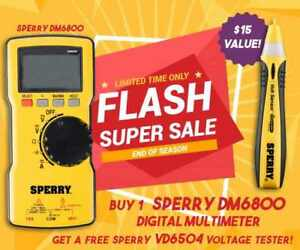 Sperry Dm6800 Digital Thin Multimeter Autoranging 600v Ac dc 10a Yellow