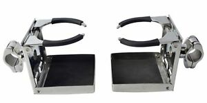 2pcs Stainless Rail Mounted Adjustable Folding Drink Cup Holders For Boat Car Us