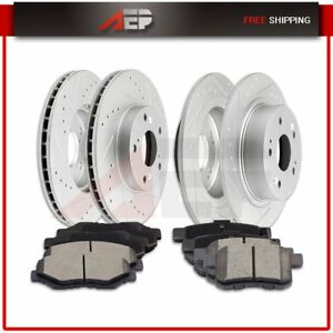 Fits 2008 2012 Honda Accord Front And Rear Brake Discs Rotors Ceramic Pads Kit