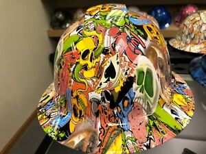 New Full Brim Hard Hat Custom Hydro Dipped Skull Sticker Bomb Free Ship