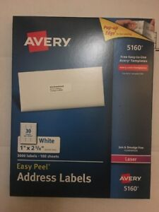 5 Avery 5160 Address Labels 3000 Labels Each 100 Sheets 1 x2 5 8 Free Shipping
