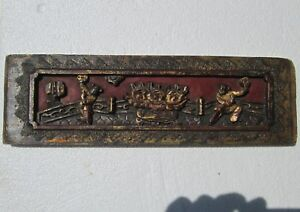 Antique 19ct Chinese Carved Wood Red Gilt Bed Panel 2 Dancers Lotus On Terrace