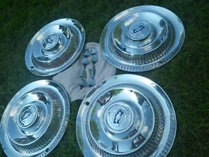 1953 1954 1955 Corvette Hub Caps With Flippers Set Of 4