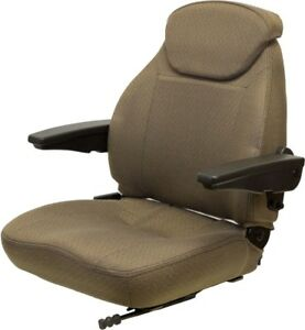 Brown Fabric Universal Tractor Seat Fits Case Ih John Deere Ford New Holland
