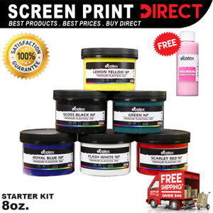 Ecotex Plastisol Ink Primary Color Kit Screen Printing Ink Kit 6 8oz Bottles