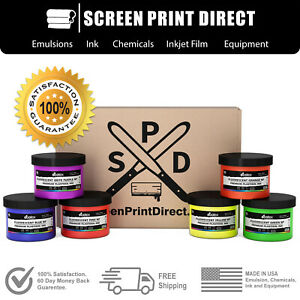 Ecotex Plastisol Fluorescent Ink Kit For Screen Printing 6 Colors 8 Oz