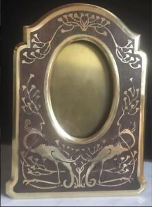 Old Picture Frame Bronze Inlay Original Wood Technical Boulle Made In Germany