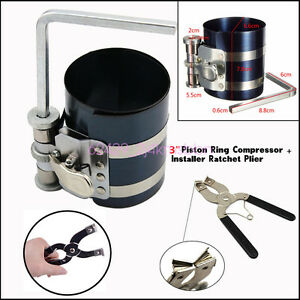 Piston Ring Compressor W D Installer Ratchet Plier Remover Expander Engine Tool