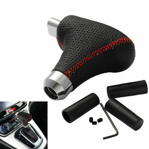 Black Leather Car Gear Shifter Shift Knob With Button For Automatic Transmission
