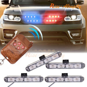 Car 16 Led Red Blue Police Strobe Flash Light Dash Emergency Warning Lamp New