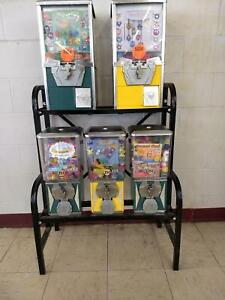 Vending Rack 5 Head Gumballs Capsules Balls Candy Coin Operated Arcade Game