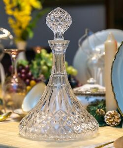 French Antique Crystal Diamond Cut Glass Ships Decanter