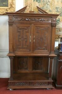 Antique French Wine Liquor Cabinet Monk S Vestry 19th Century Walnut Carved